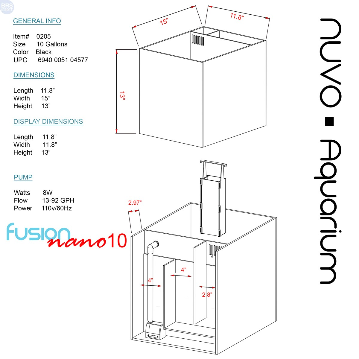 10 Nuvo Fusion Aquarium Tank Only