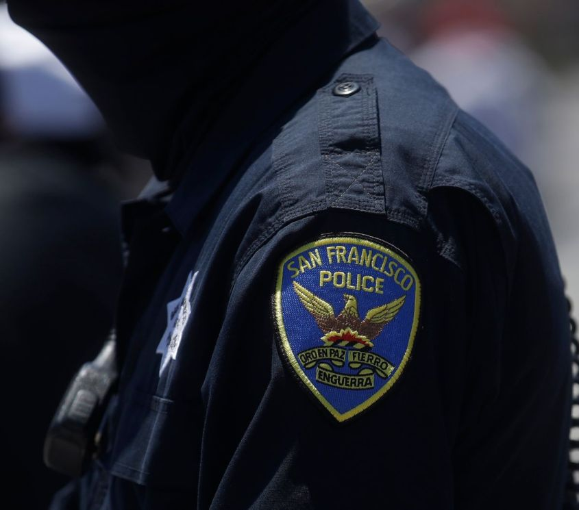 A San Francisco Police Department patch is shown on an officer's uniform in San Francisco, Tuesday, July 7, 2020. (AP Photo/Jeff Chiu)
