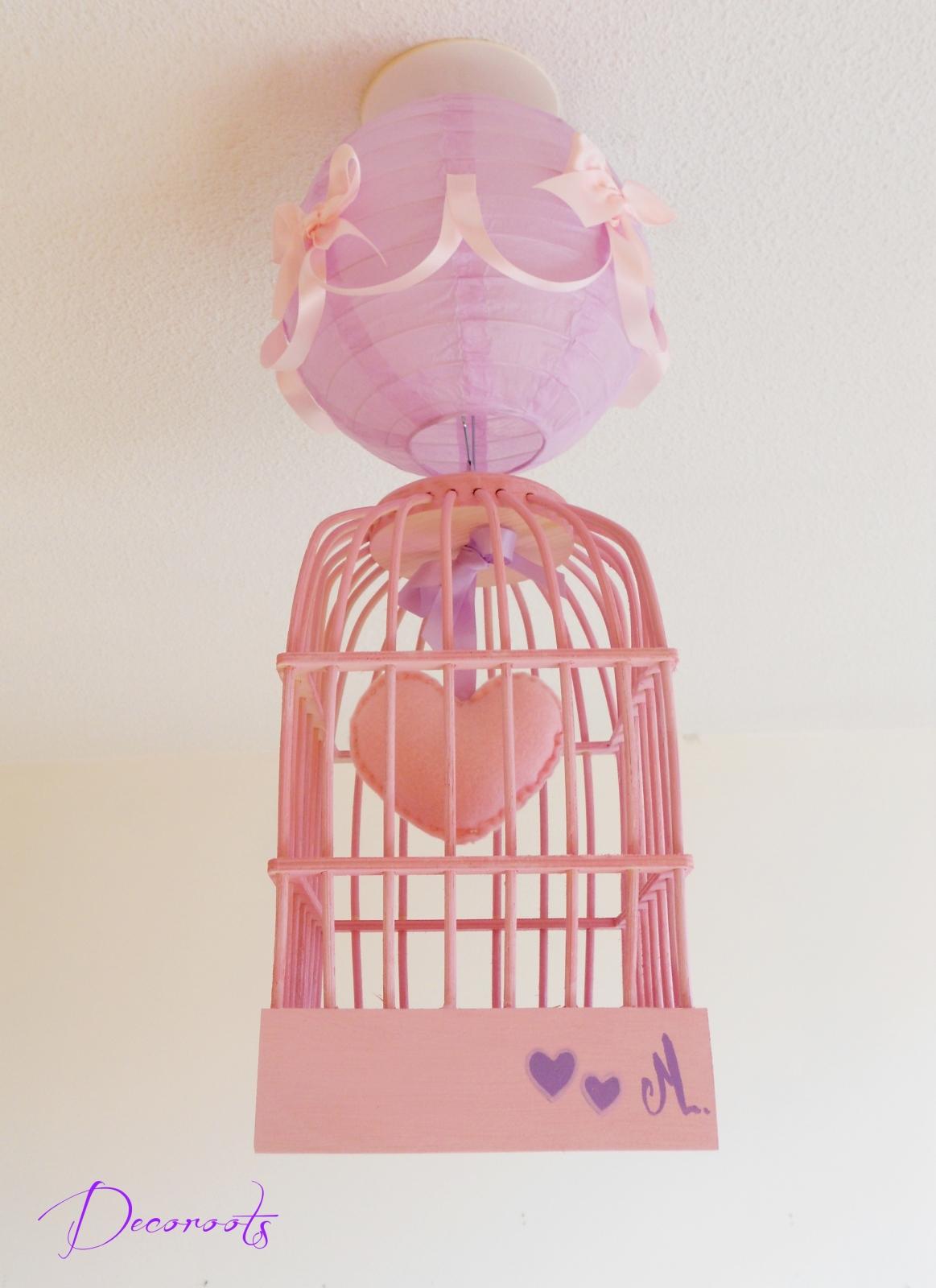 Lustre suspension fille cage petit coeur rose et parme  Enfant bbLuminaire enfant bb
