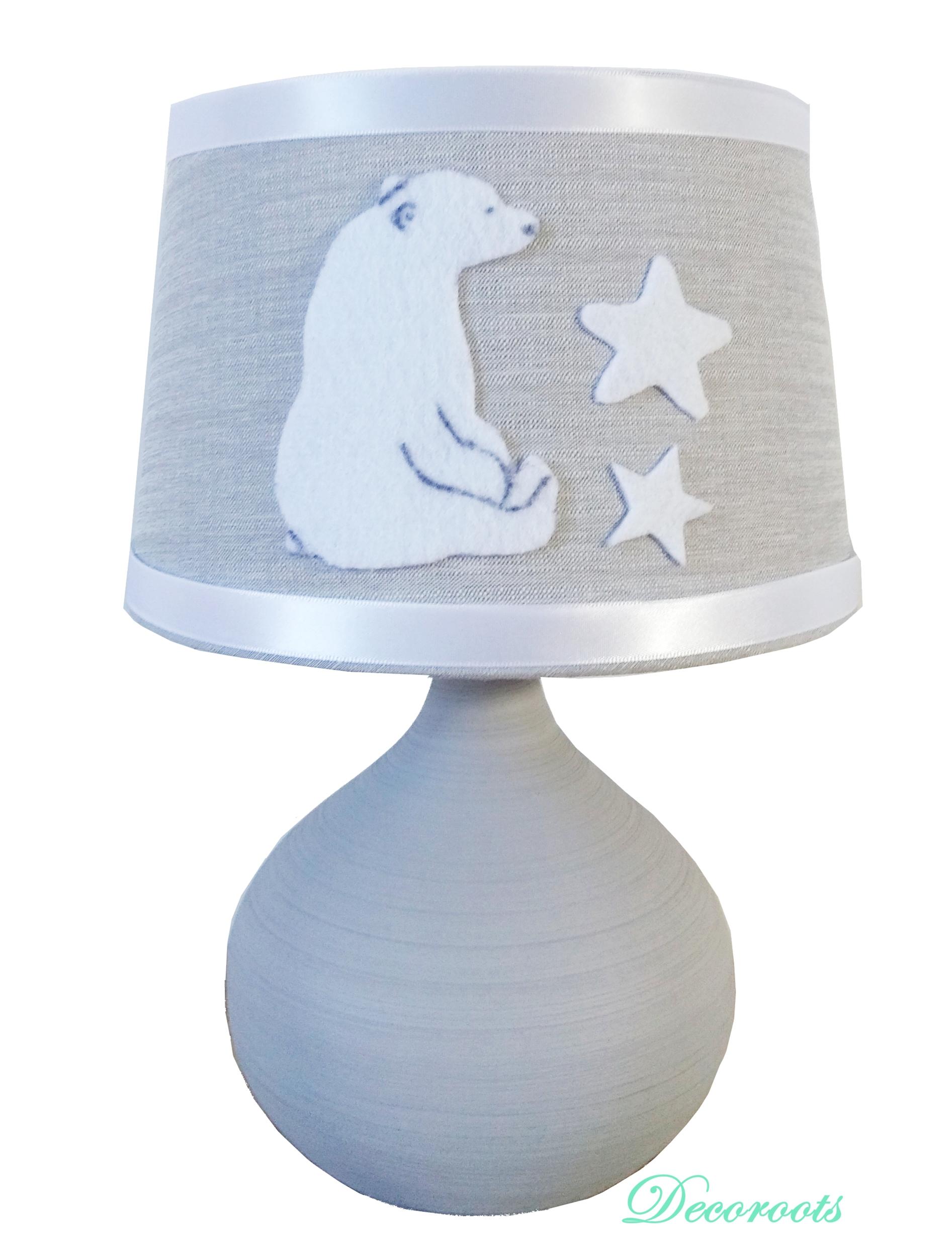 lampe de chevet ours polaire gris blanc