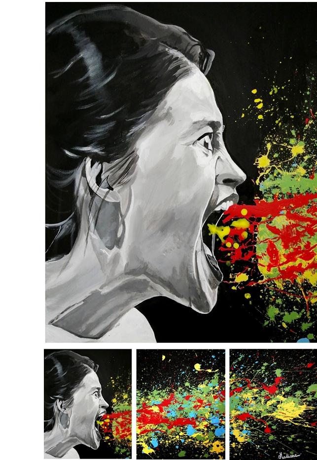 tableau deco design triptyque noir et blanc multicolore listen me reedition 3