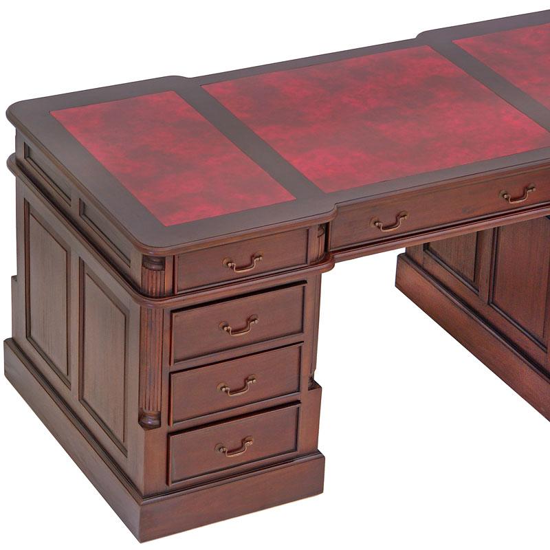 bureau de style anglais 180 cm en acajou avec sous main rouge bristol