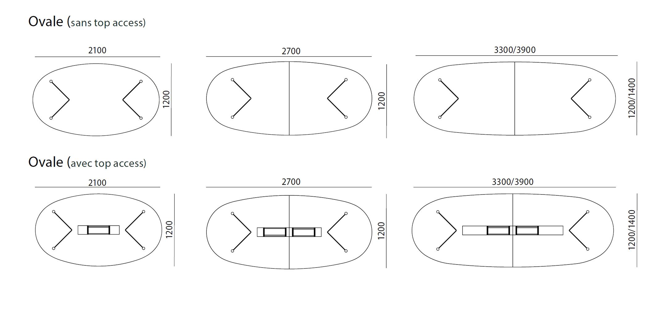table ovale usoa pieds compas