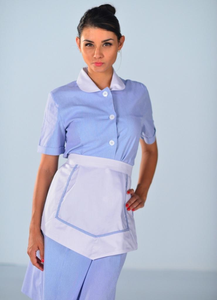 Blouse Femme de chambre  manches courtes bleu ciel Carlton