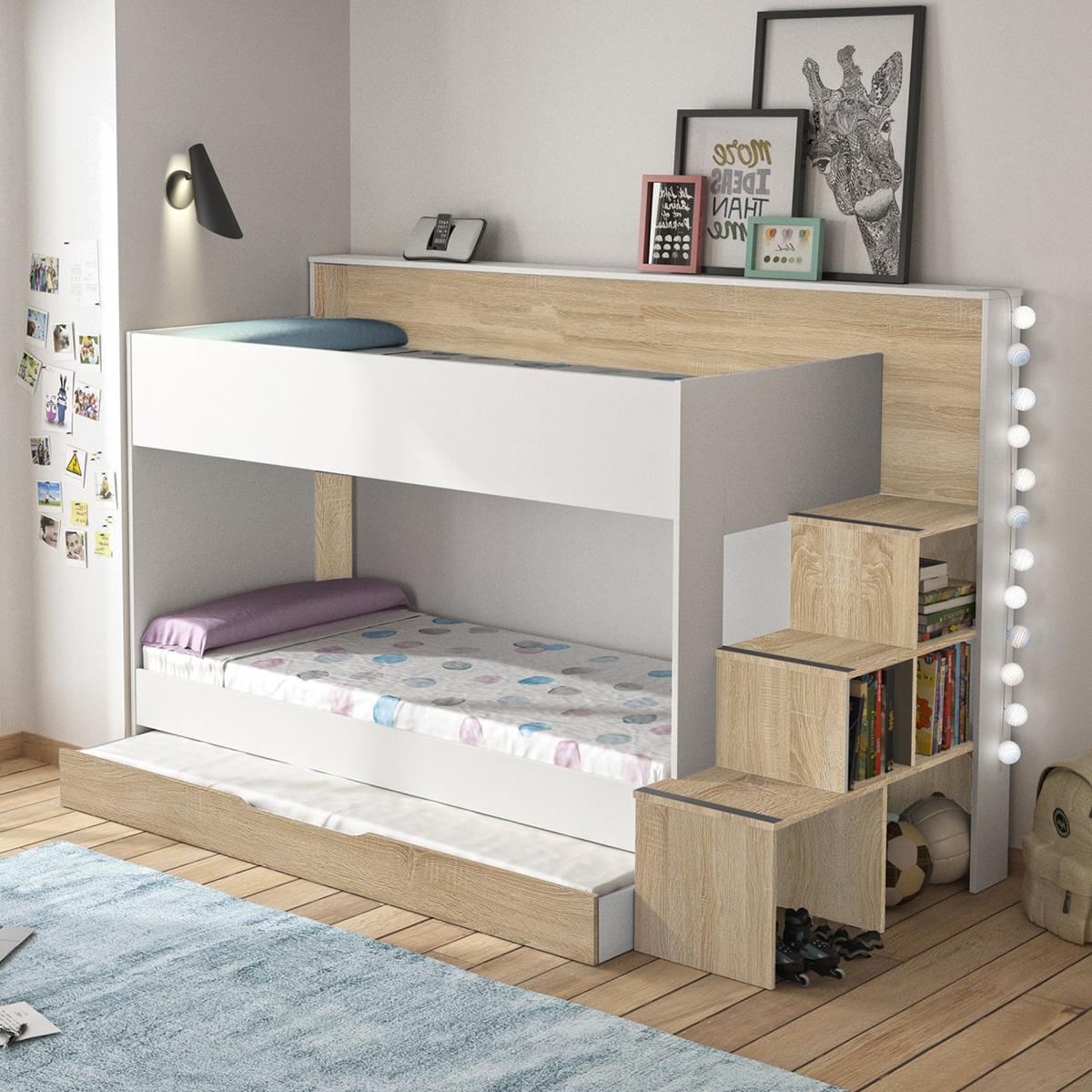 lit superpose 90x200 gami teotea blanc et bois