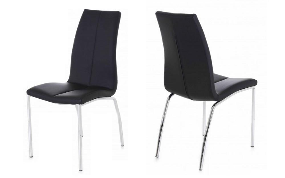 lot 6 chaises simili noir pied metal aura