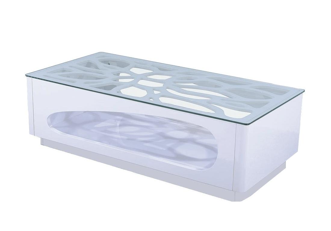 table basse laque blanc verre trempe flo
