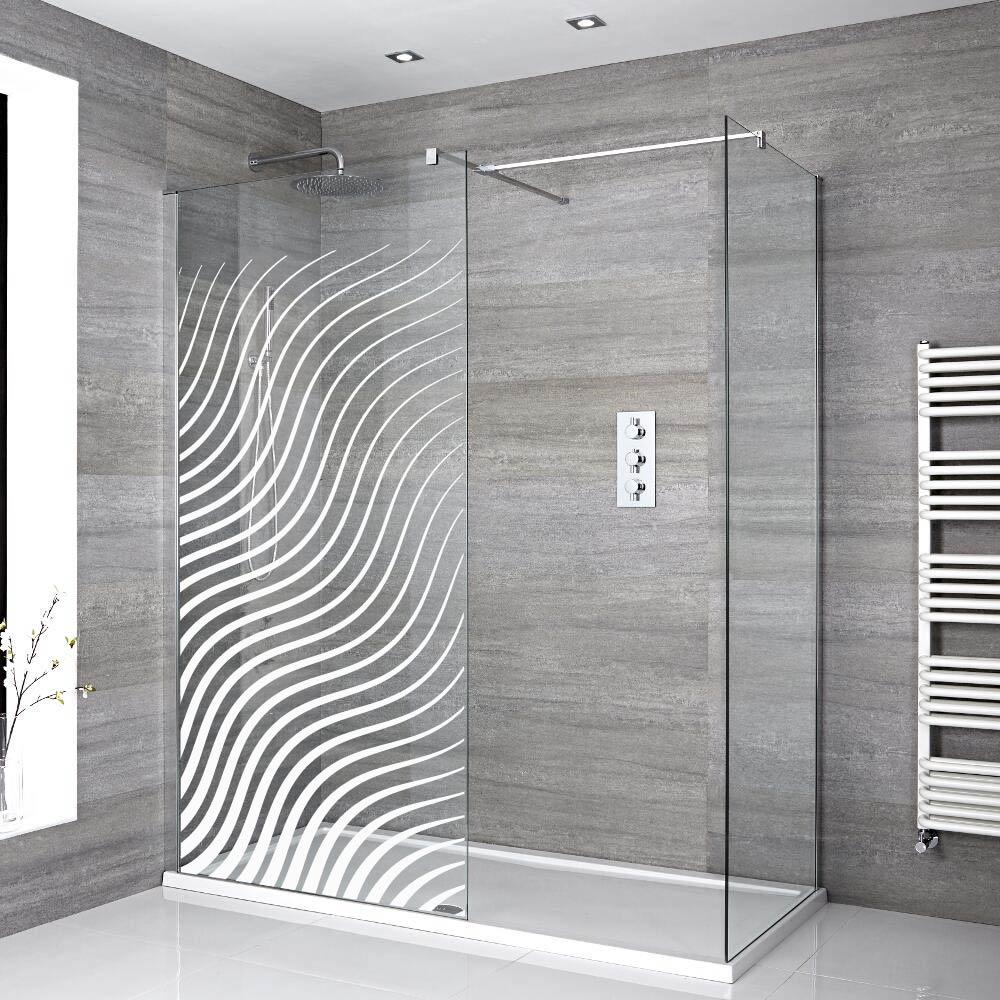 stickers porte de douche depoli vagues