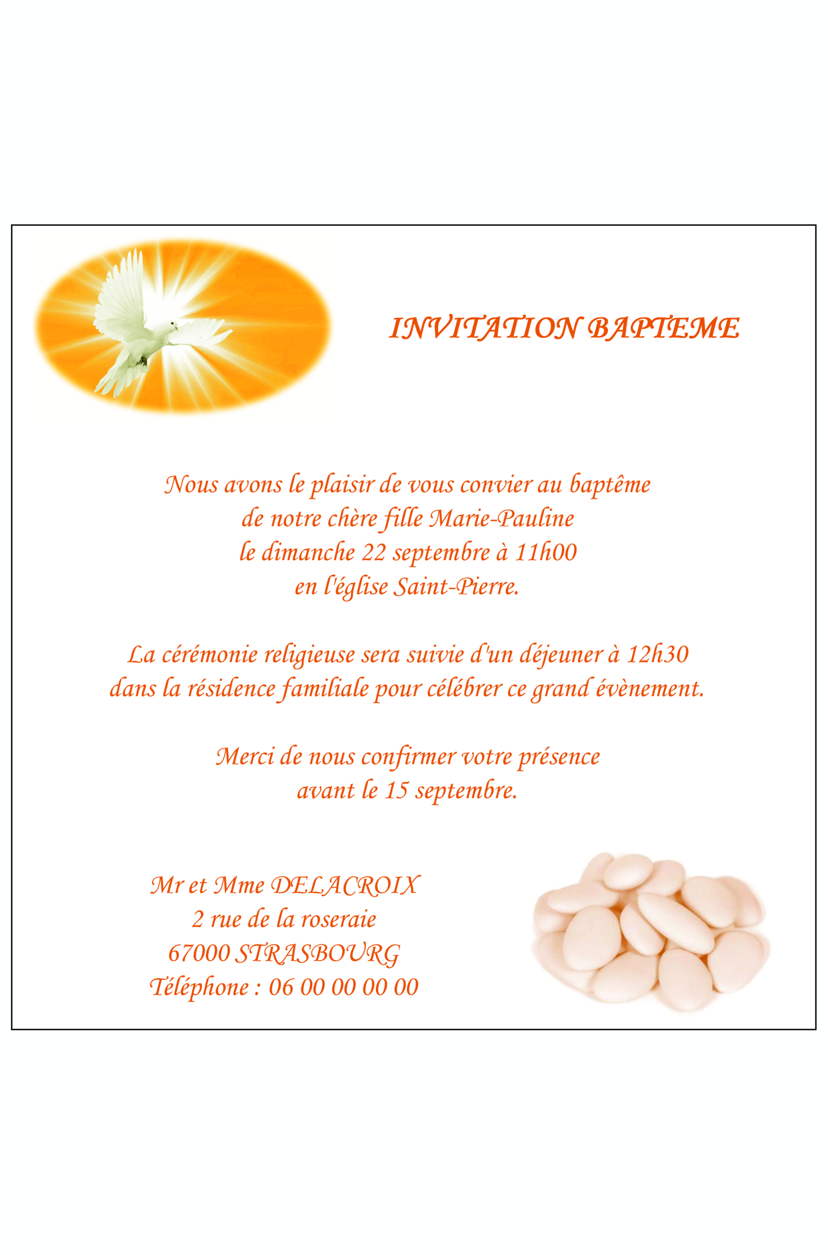carte d invitation bapteme fille ref 171
