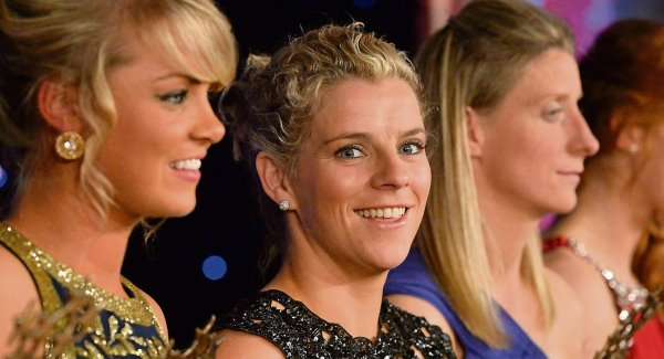Cork's Valerie Mulcahy, centre,  at the TG4 Ladies Football All-Star Awards in Citywest Hotel, Saggart, Co Dublin, in 2013, where she won a fifth TG4 Ladies Football All-Star Award. Picture: Brendan Moran/Sportsfile