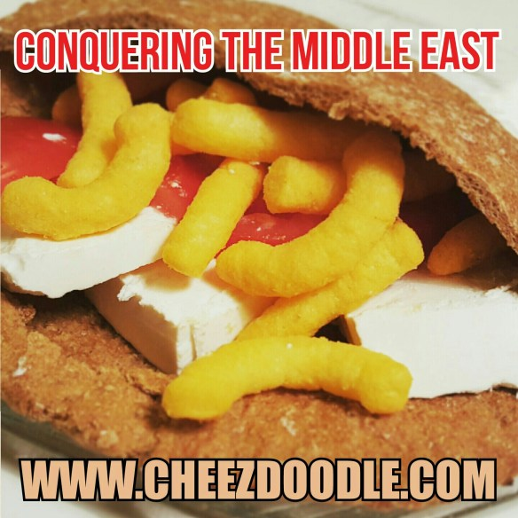 pita with cheez doodles white cheese tomatoes