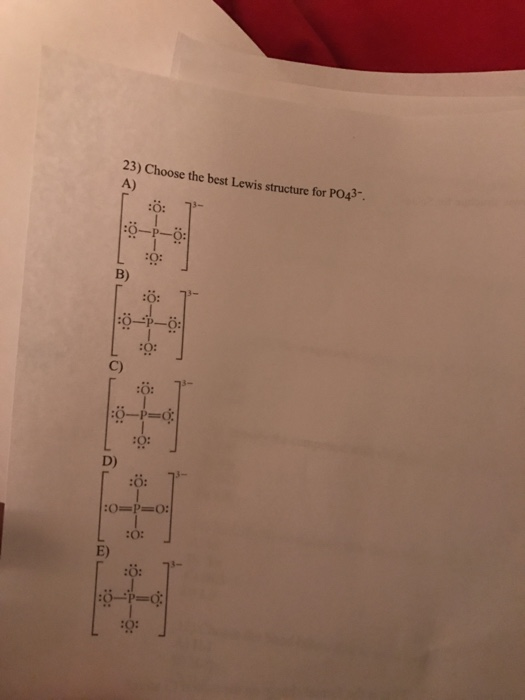 Lewis Structure Po43 : lewis, structure, Solved:, Choose, Lewis, Structure, PO^3-, Chegg.com