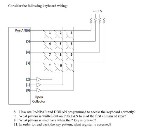 small resolution of consider the following keyboard wiring 3 3 v portan 6 9 open collector