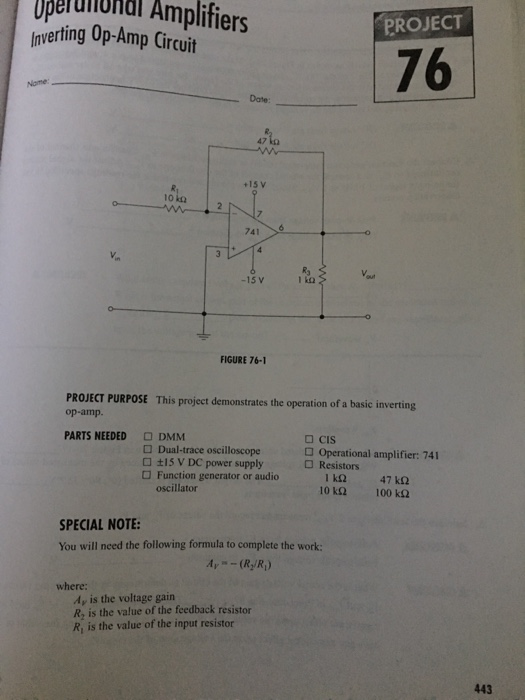 Schematic Diagram Of A 741 Inverting Op Amp Circuit With A Gain Of 10