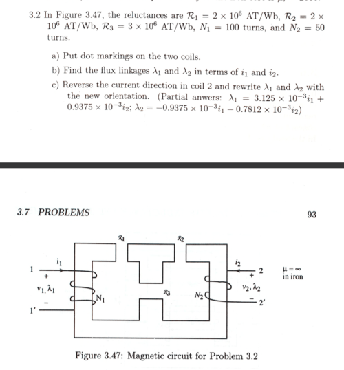 small resolution of 3 2 in figure 3 47 the reluctances are r12 x 106 at wb r2
