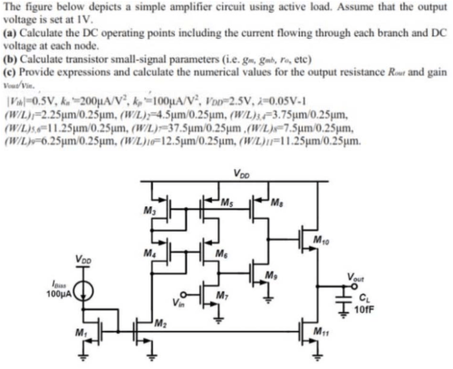 small resolution of the figure below depicts a simple amplifier circuit using active load assume that the output