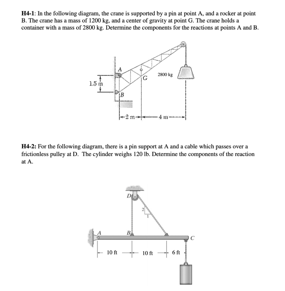 medium resolution of solved h4 1 in the following diagram the crane is suppo h4 diagram