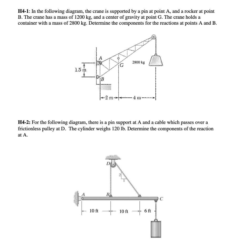 hight resolution of solved h4 1 in the following diagram the crane is suppo h4 diagram