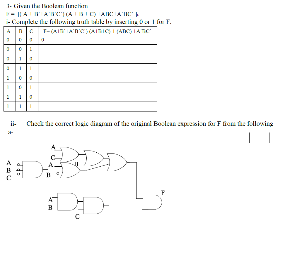medium resolution of 3 given the boolean function i complete the following truth table by inserting 0