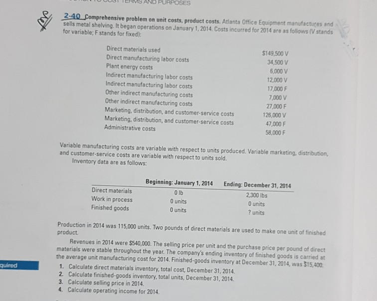 Solved: 2-40 Comprehensive Problem On Unit Costs, Product
