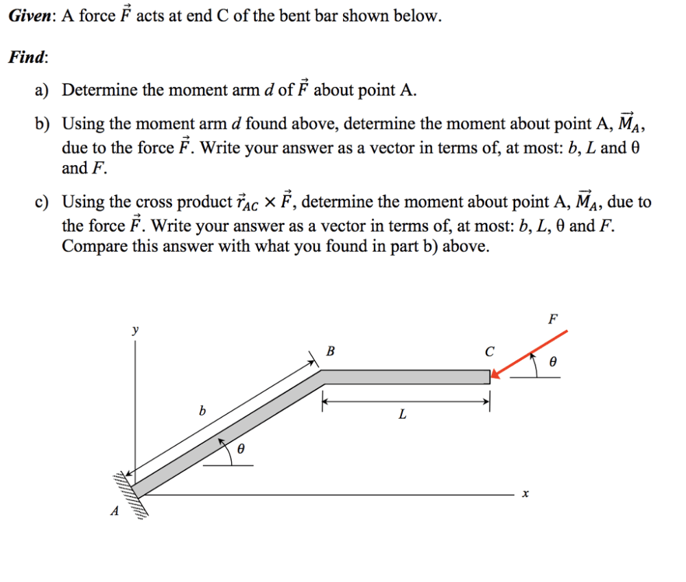 medium resolution of given a force f acts at end c of the bent bar shown below