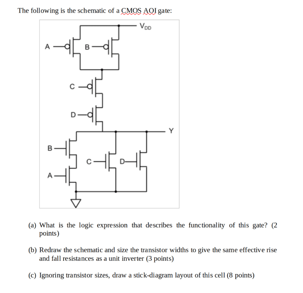 medium resolution of the following is the schematic of a cmos aqi gate vdd a what