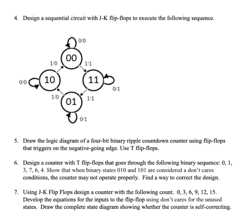 small resolution of design a sequential circuit with j k flip flops to execute the following sequence 4