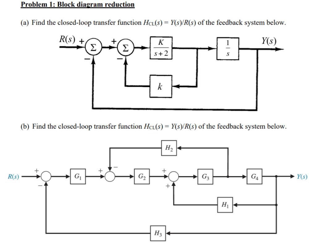 medium resolution of problem 1 block diagram reduction ek r s y s