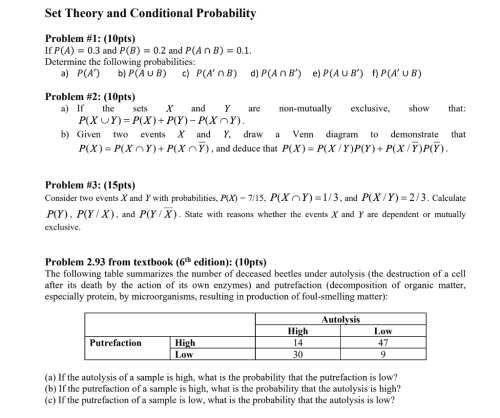 small resolution of set theory and conditional probability problem 1 10pts if p a