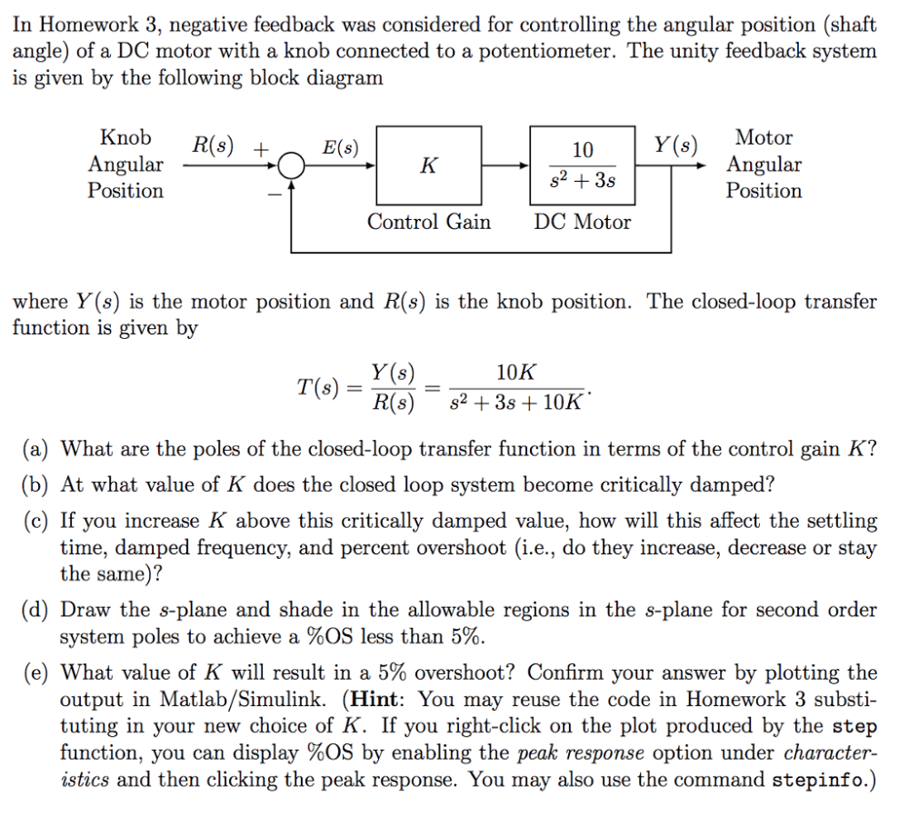 medium resolution of in homework 3 negative feedback was considered for controlling the angular position shaft angle
