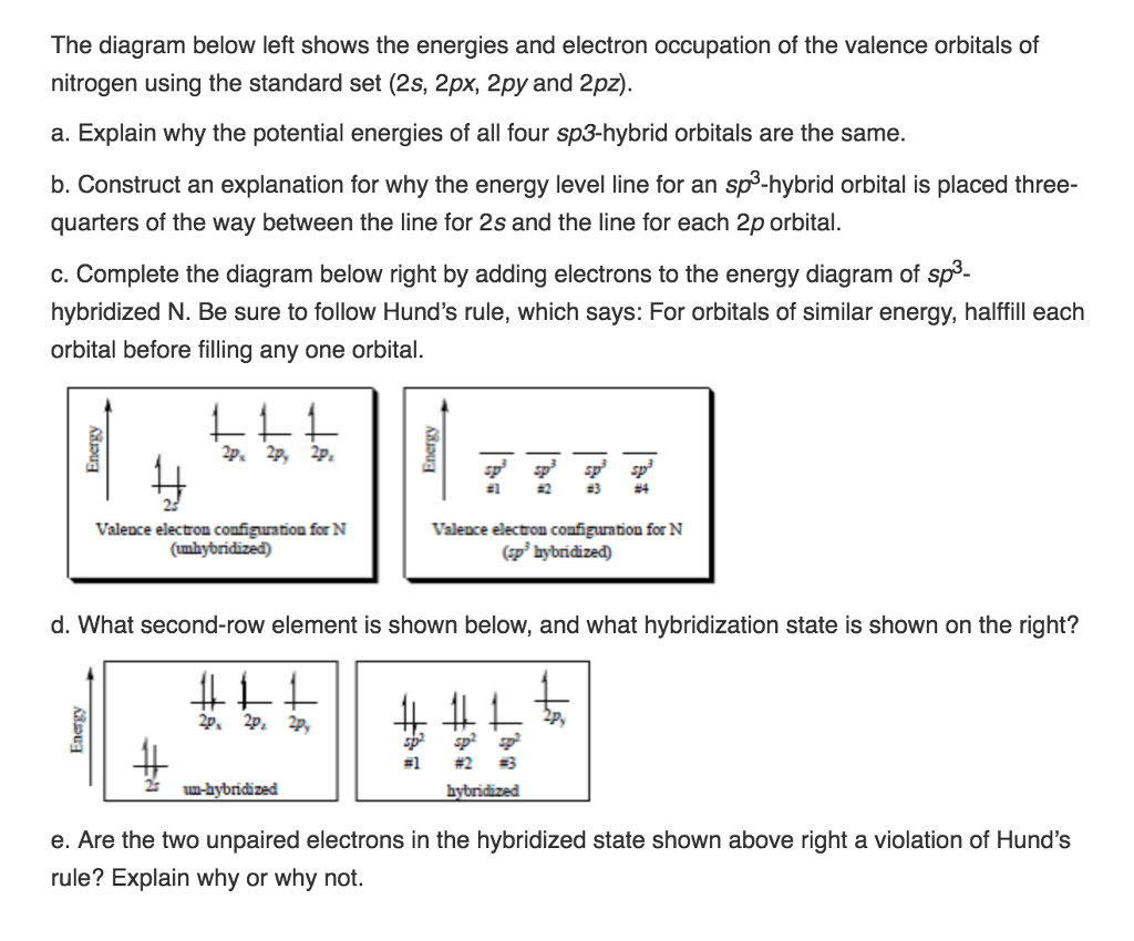 hight resolution of question the diagram below left shows the energies and electron occupation of the valence orbitals of nitrogen using the standard set 2s 2px