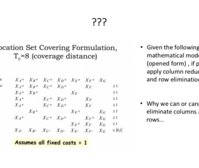 Location Set Covering Formulation Tc8 Coverage Distance Given The Following Mathematical