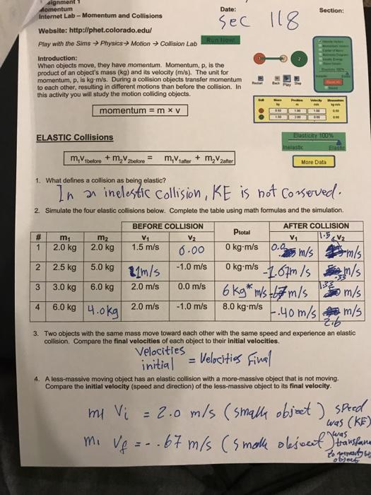 Worksheet Conservation Of Momentum Physics Fundamentals