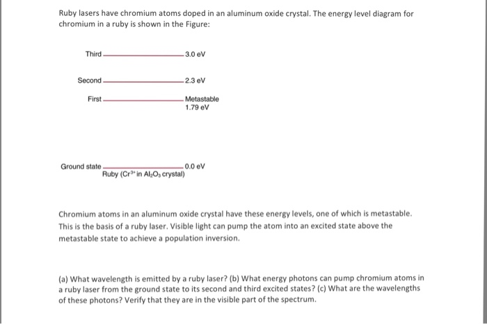 energy level diagram for aluminum 1999 ez go txt wiring solved ruby lasers have chromium atoms doped in an alumin the media 2f2ae 2f2aecb9b1 b0d8 49f5 9ea8 e3