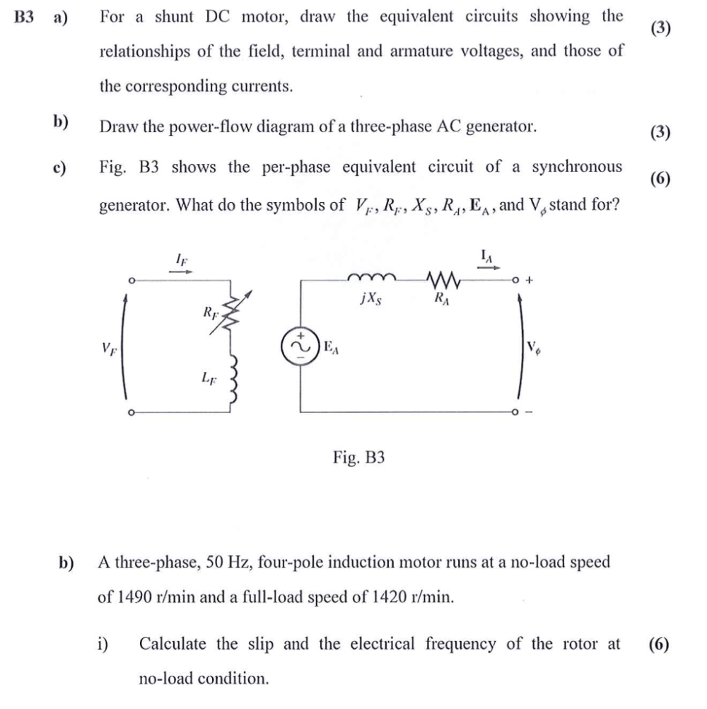 medium resolution of b3 for a shunt dc motor draw the equivalent circuits showing the relationships of the