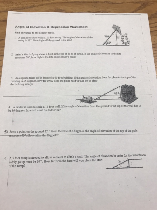 Angle of elevation and depression worksheet   Check my answers