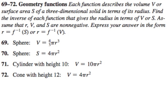 Solved: Each Function Describes The Volume V Or Surface Ar