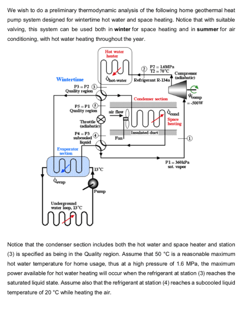 small resolution of question we wish to do a preliminary thermodynamic analysis of the following home geothermal heat pump system designed for wintertime hot water and space