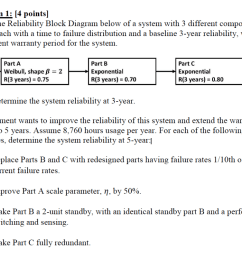 problem 1 4 pointsl given the reliability block diagram below of a system with [ 1024 x 802 Pixel ]