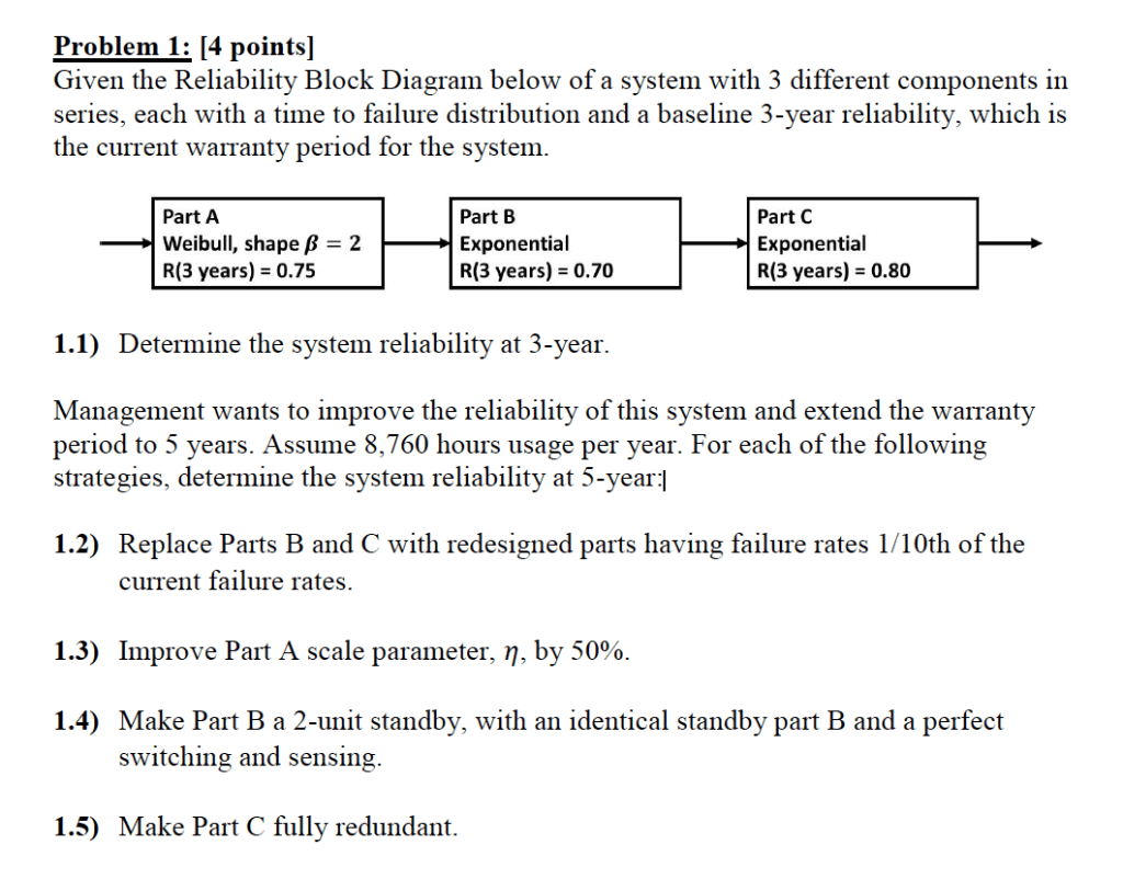 hight resolution of problem 1 4 pointsl given the reliability block diagram below of a system with
