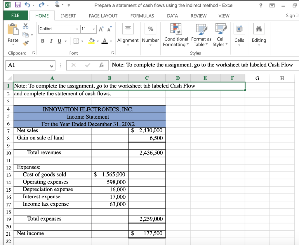 Solved Use The Income Statement And Balance Sheet To Prep