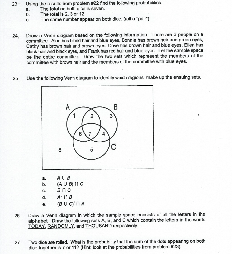 hight resolution of 23 using the results from problem 22 find the following probabilities the total on both