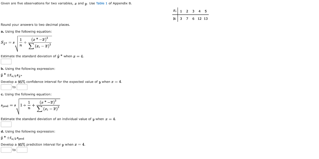 Solved: Given Are Five Observations For Two Variables, A