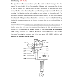 question shaft design 100 marks the figure below schemes a crane hoist system the load to be lifted vertically is 50 t the mass of the hook block is  [ 791 x 1024 Pixel ]