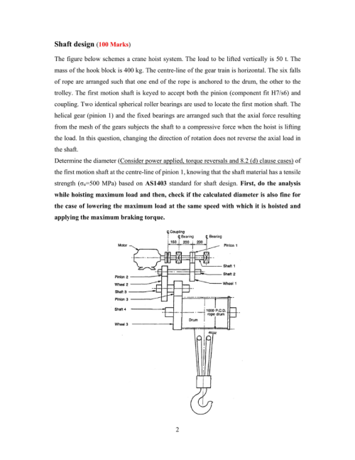small resolution of question shaft design 100 marks the figure below schemes a crane hoist system the load to be lifted vertically is 50 t the mass of the hook block is