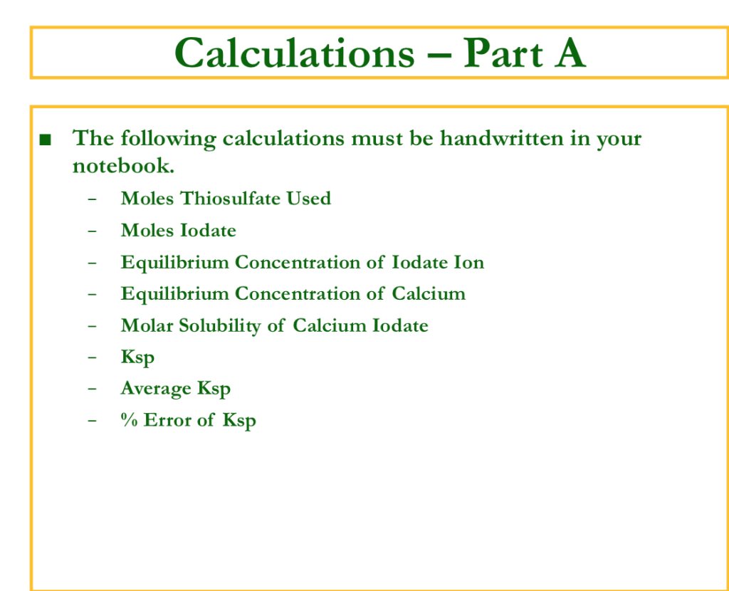 Solubility Product Ksp Constant And The Common I