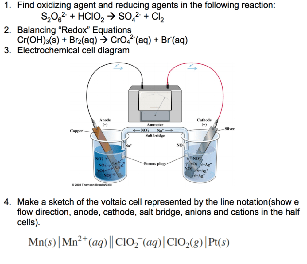 medium resolution of solved 1 find oxidizing agent and reducing agents in the cell diagram for so4