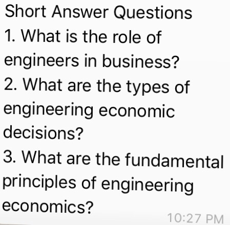 Solved: Short Answer Questions What Is The Role Of Enginee