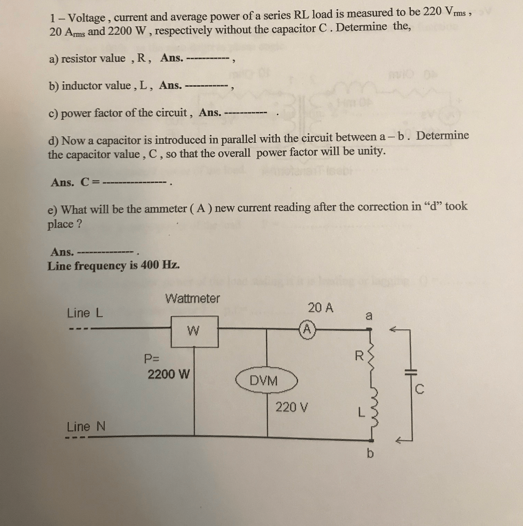 hight resolution of 1 voltage current and average power of a series rl load is measured to