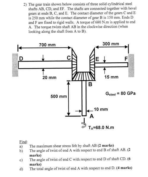 small resolution of 2 the gear train shown below consists of three solid cylindrical steel shafts ab